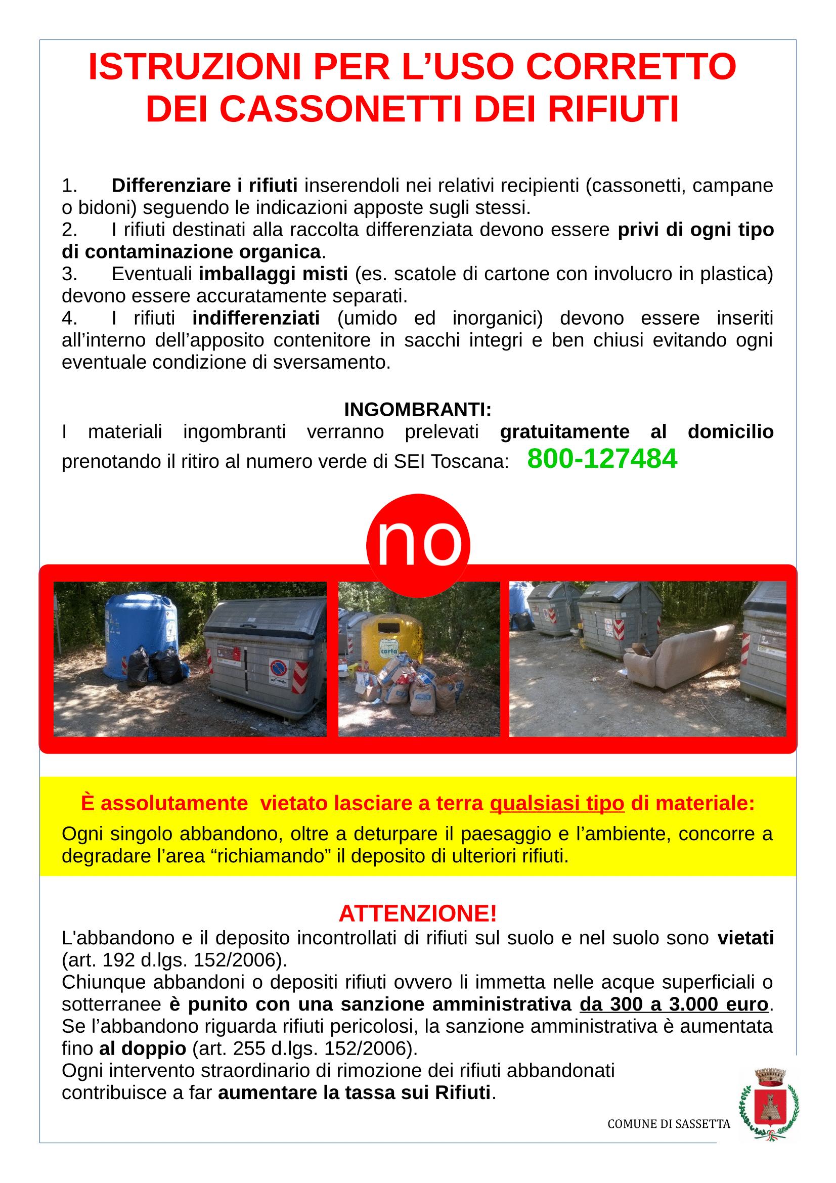 Istruzioni rifiuti