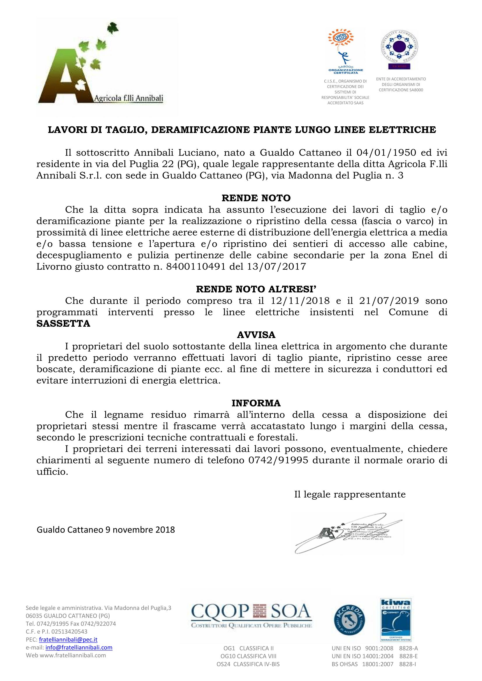 Avviso taglio piante e deramificazione 2018/2019