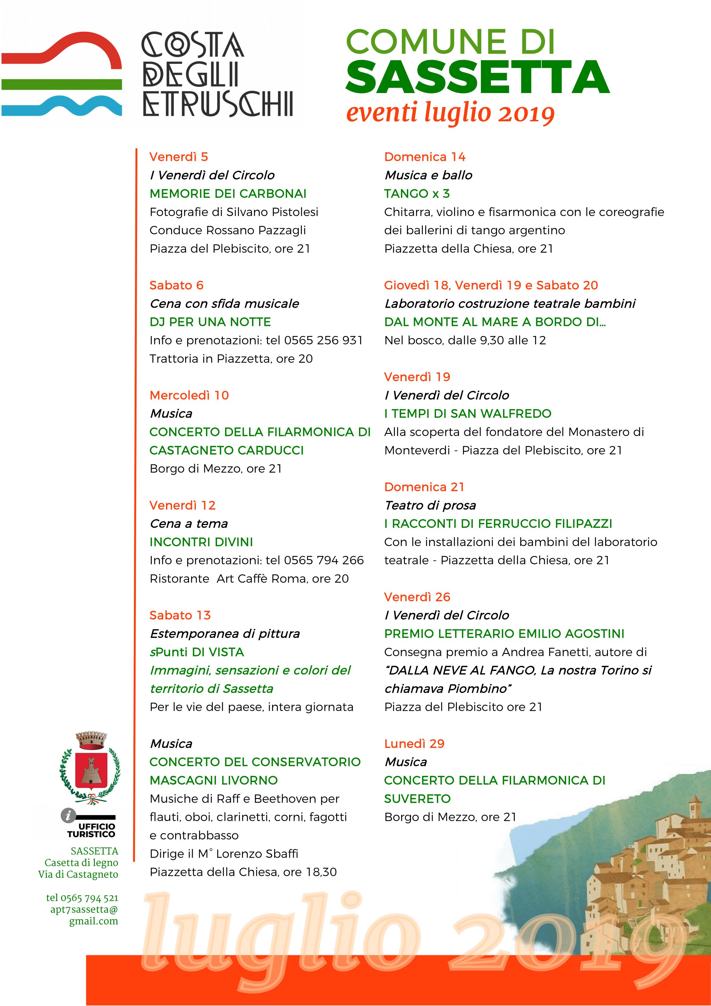 Calendario eventi luglio 2019